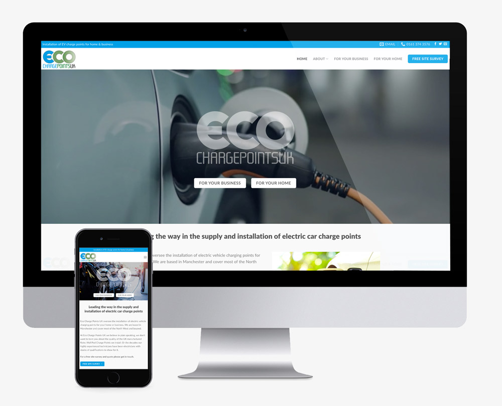 website design for eco charge points in manchester